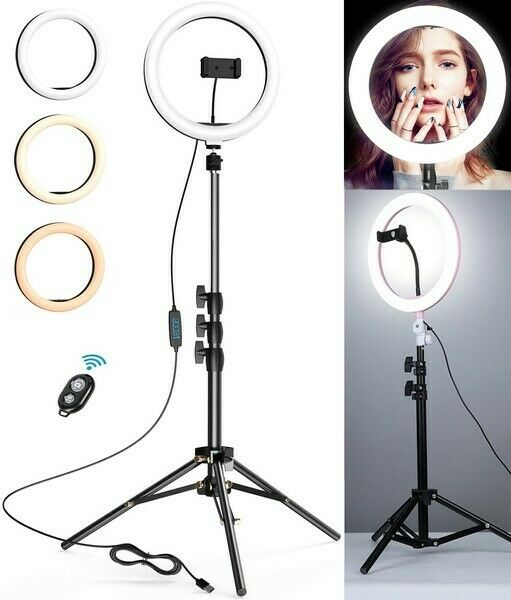 10#x27;Led Ring Light Kit Phone Holder Pro Studio Photo Makeup Stand Selfie Stick