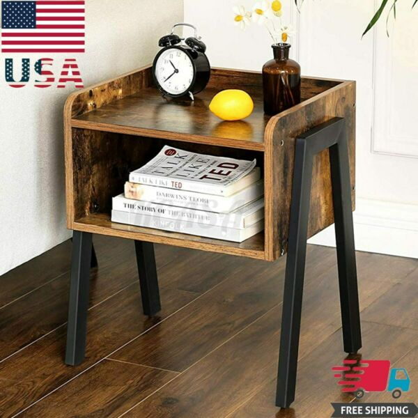 Metal Frame Industrial Round Side End Table Storage Nightstand Sofa Living