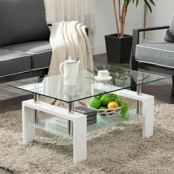 Rectangular Coffee Table Glass Shelf Living Room Wood Furniture White Black US