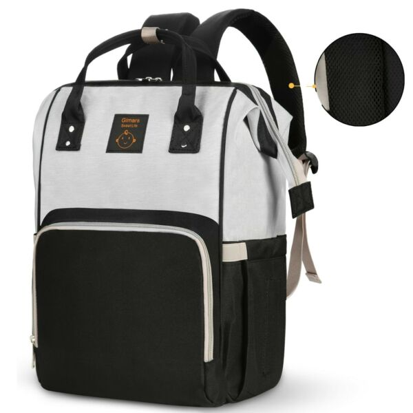 Diaper Bag Backpack Large Multi Function Waterproof Baby Travel Bags grayblack $14.99
