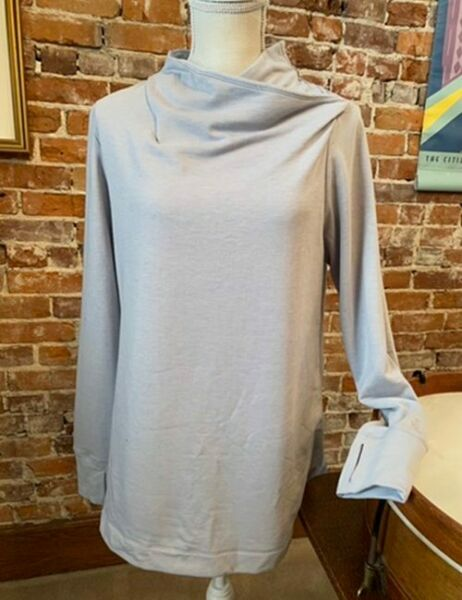Cuddl Duds Comfortwear Grey French Terry Long Sleeve Soft Cowl Top New $19.95