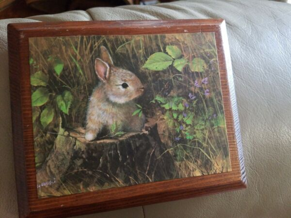 VINTAGE RUSTIC WOODEN RABBIT WALL ART BUNNY PICTURE WOOD BUNNY SIGN EASTER 5X6