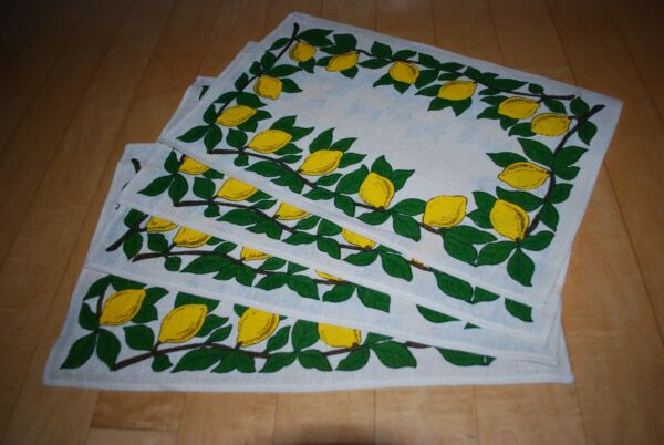 Vintage Lemon Placemats Linen Burlap? Set of 4 Never Used Bright Yellow amp; Green