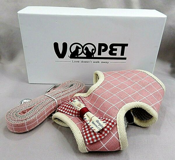 VOOPET Easy On amp; Off Dog amp; Cat Harness With Leash No Pull Small Pink *L2 $12.95