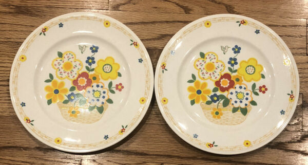 """Versatone By Noritake Crazy Quilt 8.25"""" Plate Flowers Floral Yellow Red Dishes $24.99"""