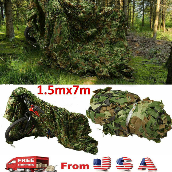 5*23FT Camouflage Hunting Net Hide Camo Netting Military Camping Cover Woodland