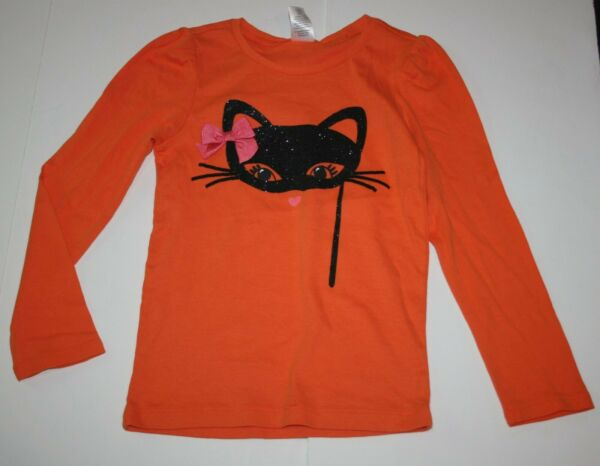 New Gymboree Girls Top 5 year Orange Halloween Top Tee Glitter Kitty Cat Mask $11.00