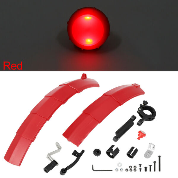 26 Inch Adjustable Front Rear Retractable Bike Fender Set with Taillight Red $25.49