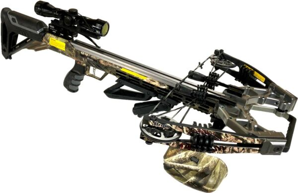 Bruin Ambush 410 Crossbow Package w Scope Bolts Quiver and Cocking Rope Camo