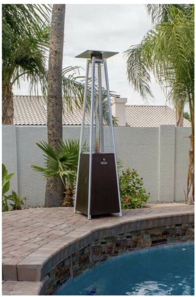 🔥 Hiland Pyramid Patio Propane Heater w Wheels 87 Inches Bronze *IN HAND*