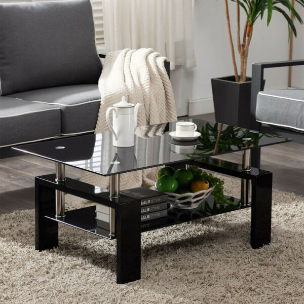 Rectangular Black Glass Coffee Table Modern Shelf Wood Living Room Furniture US