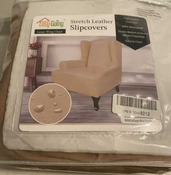 easy going Stretch Leather Slipcovers For Large Wing Chair 100% Waterproof $24.99