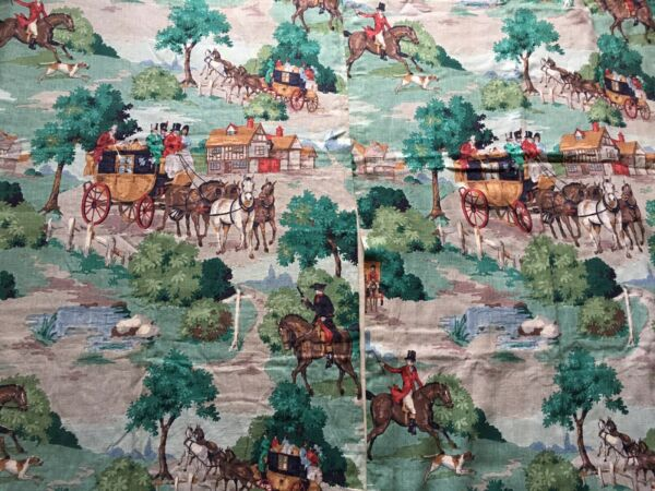 2 STUNNING VINTAGE IRISH LINEN PANELS HUNTING SCENE ANTIQUE OLD DECORATIVE