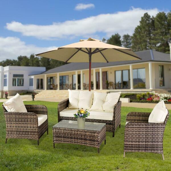 4PCS Outdoor Patio Rattan Wicker Furniture Set Loveseat Wicker Cushioned Sofa $319.99
