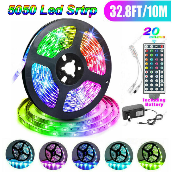 32FT Flexible 5050 RGB LED SMD Strip Light Fairy Lights Room TV Party Bar NEW