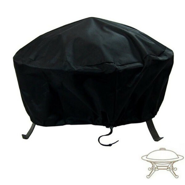 30#x27;#x27; Patio Round Fire Pit Cover Waterproof UV Protector Grill BBQ Cover Black US $10.00
