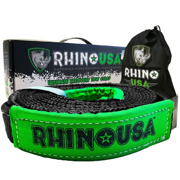 Rhino USA Recovery Tow Strap 2in x 20ft Lab Tested 20024lb Break Strength ... $21.58
