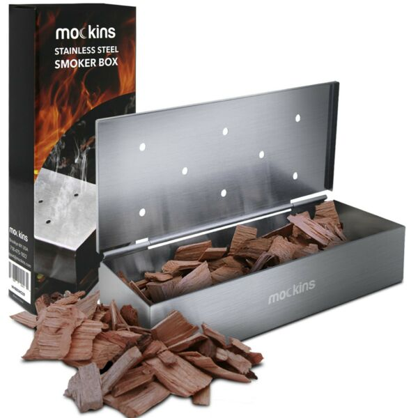 Mockins BBQ Smoker Box for Grilling Barbecue Wood Chips Holes Only on Top