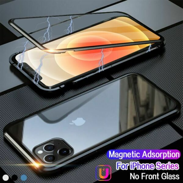 Magnetic Adsorption Case For iPhone 12 Mini Pro Max Tempered Glass Metal Cover
