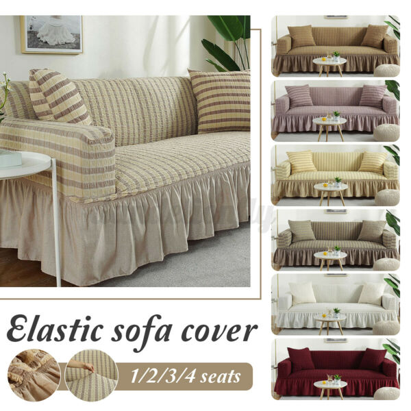 Elastic Slipcover Sofa Chair Covers Couch Cover Protector Skirt 1 2 3 4 Seats US $25.82