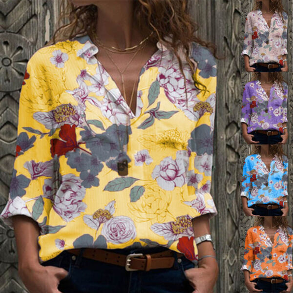 Women Casual V Neck T Shirt Long Sleeve Tops Floral Tunic Loose Fall Blouse