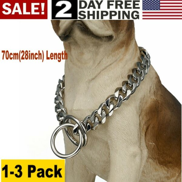28 Inch Dog Control Choke Chain Training Obedience Stainless Steel 5mm 70Cm 1 3x $19.66
