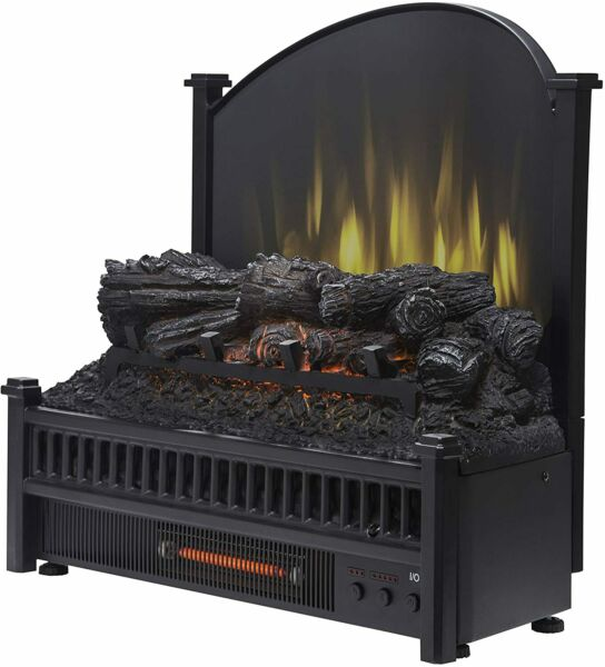 Pleasant Hearth Electric Log Insert with Removeable Fireback with Heater Black
