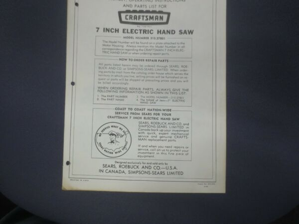 1966 Craftsman Assembly Operating Instructions amp; Parts List 7quot; Electric Hand Saw