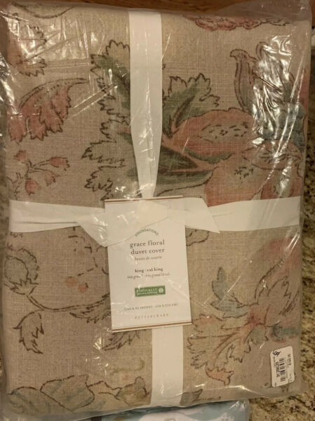 Pottery Barn Grace Floral Duvet Cover King Linen Texture NEW $124.00