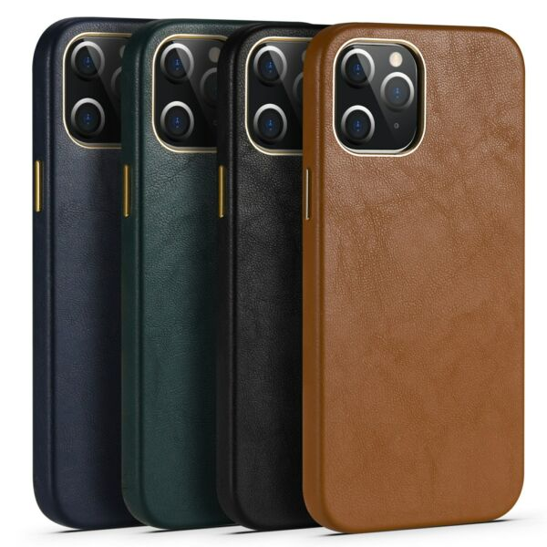 For iPhone 12 Pro Max 12 mini 11 Pro Luxury Real Leather Back Phone Case Cover $13.79