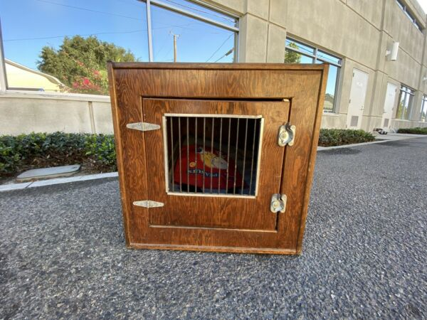 Beautiful Polished Wood DOG CRATE animal carrier FURNITURE piece