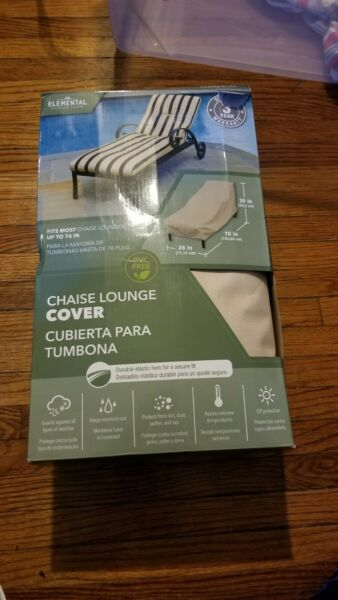 BRAND NEW Chaise Lounge Cover 76quot; x 30quot; x 28quot; Elemental Outdoor Covers PVC Free $18.00