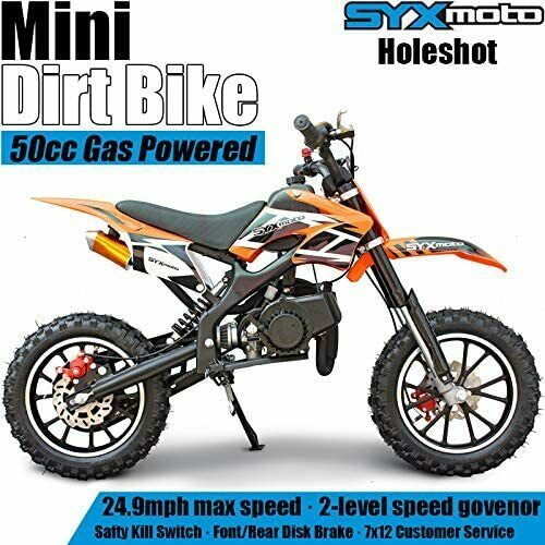SYX MOTO Kids Mini Dirt Bike Gas Power 2 Stroke 50cc Motorcycle Orange $356.50