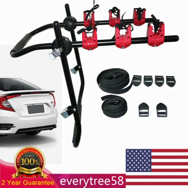 3 Bike Trunk Mount Bicycle Rack Trunk Rack Carrier for Car SUV $54.02