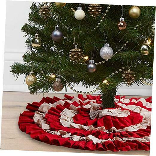 Christmas Tree Skirt 48 Inches Red Buffalo Check and Burlap 6 Layers Ruffled X