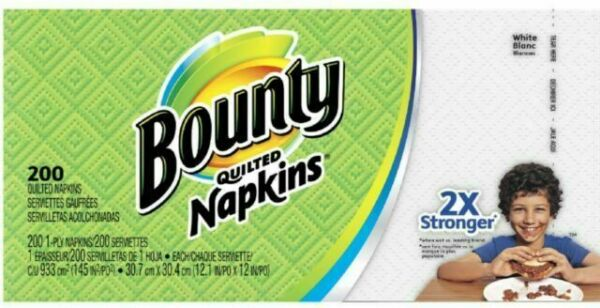 2 Pack Bounty Paper Napkins White 200 Count ***FREE SHIPPING***