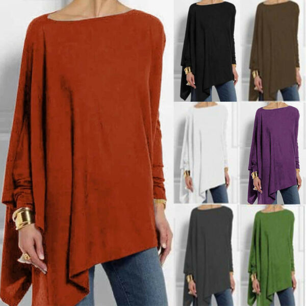 Women Long Sleeve T Shirt Casual Irregular Solid Tops Basic Loose Blouse Tunic