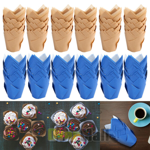 600pcs Tulip Cupcake Wrappers Muffin Liners Greaseproof Baking Cups for Birthday