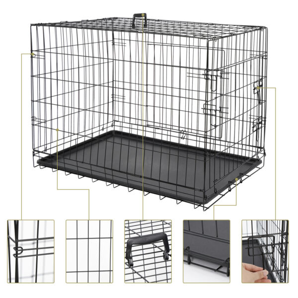 36quot; Durable Dog Crate Kennel Folding Pet Cage 2 Door With Tray Indoor Dog House $60.99