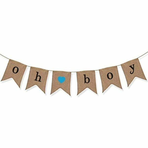 Oh Boy Burlap Banner Baby Shower Decorations Gender Reveal Party Toys amp;amp