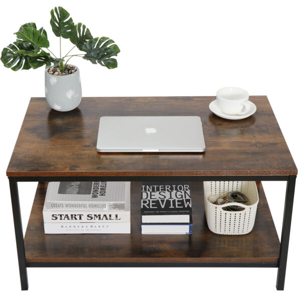 Rustic Wood Coffee Table Rectangular Coffee Table with Storage Shelf Durable 31quot;