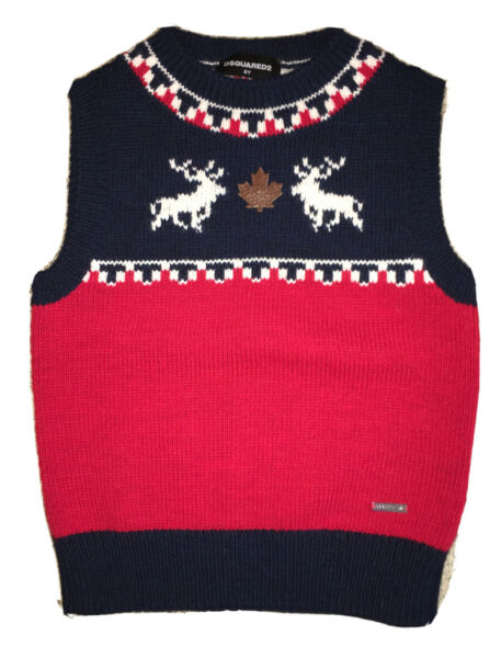 $190 NWOT Authentic DSQUARED2 Kids size 6 yrs Knitted sweater Vest deer $55.00