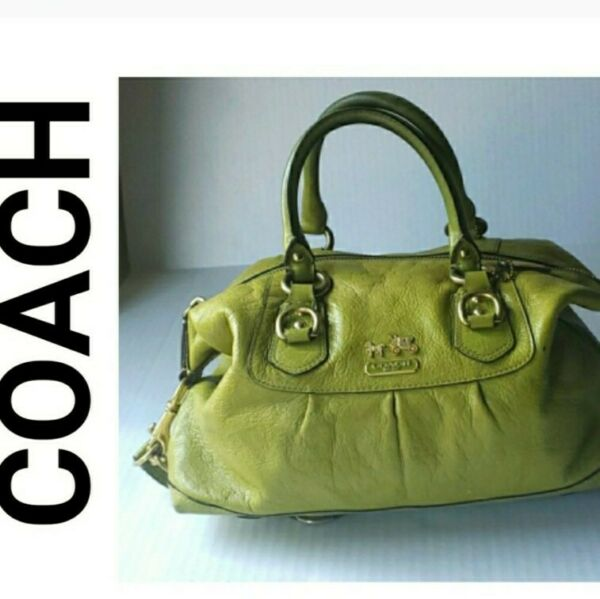 COACH GREEN BAG SIGNATURE LEATHER HANDBAG WITH ATTACHED STRAP AUTHENTIC STACHEL $49.99