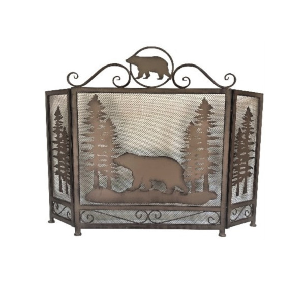 Bear in Forest Metal Fireplace Screen Lodge Cabin Mountain Style Home Decoration