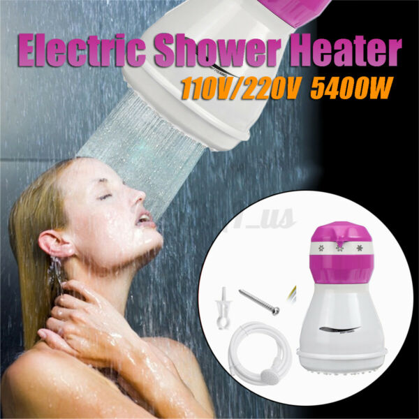 110V 5400W Portable Instant Electric Water Heater Tankless Shower Head 3 Modes $32.54