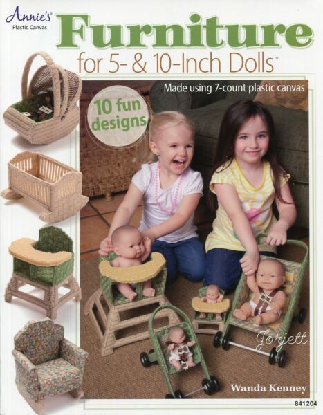 Furniture for 5quot; amp; 10quot; Dolls 10 Accessories plastic canvas pattern book NEW $8.99