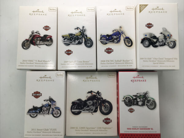 LOT of 7 HARLEY DAVIDSON Motorcycle HALLMARK Keepsake Die Cast X Mas Ornaments
