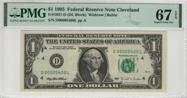 1995 $1 FEDERAL RESERVE NOTE CLEVELAND FR.1921 D FANCY SERIAL NO PMG GEM 67 EPQ $59.99