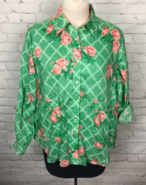 Tommy Hilfiger Shirt Button Front Linen Green Pink Tommy Women#x27;s Size 14 $25.43