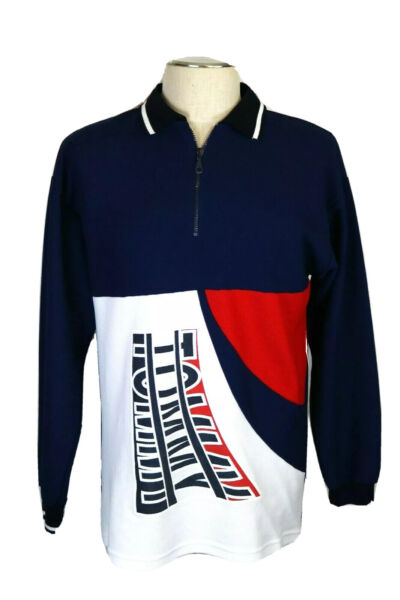 Tommy Men#x27;s L Red White amp; Blue 1 4 Zip LS Pullover Shirt Rugby Polo Jersey $17.99
